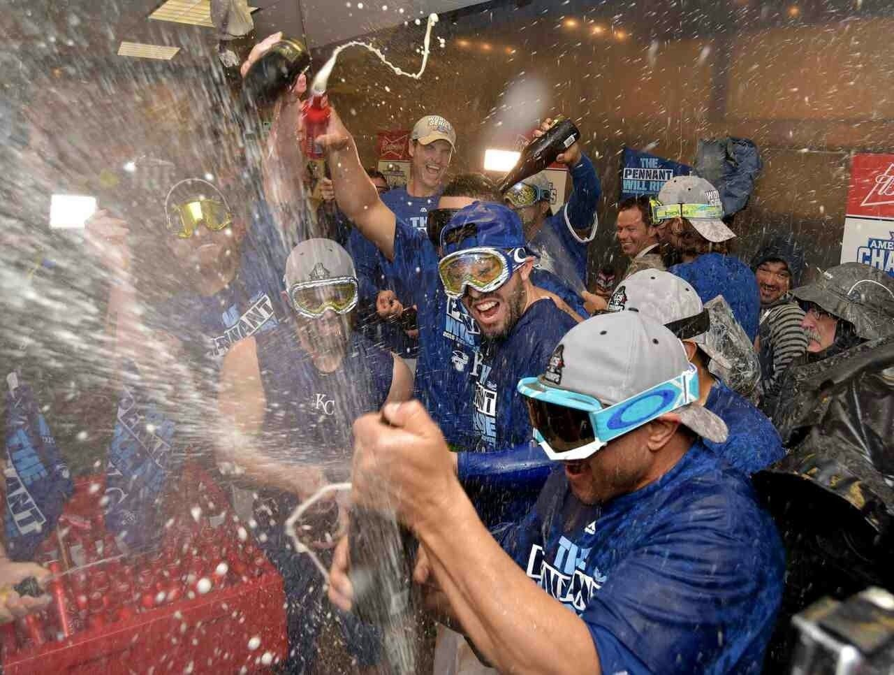 Kansas City Royals players wearing Oakley Goggles during clubhouse celebrations. - 0844d9c2bc9e9c550ed6ad30da9a33f8.jpg
