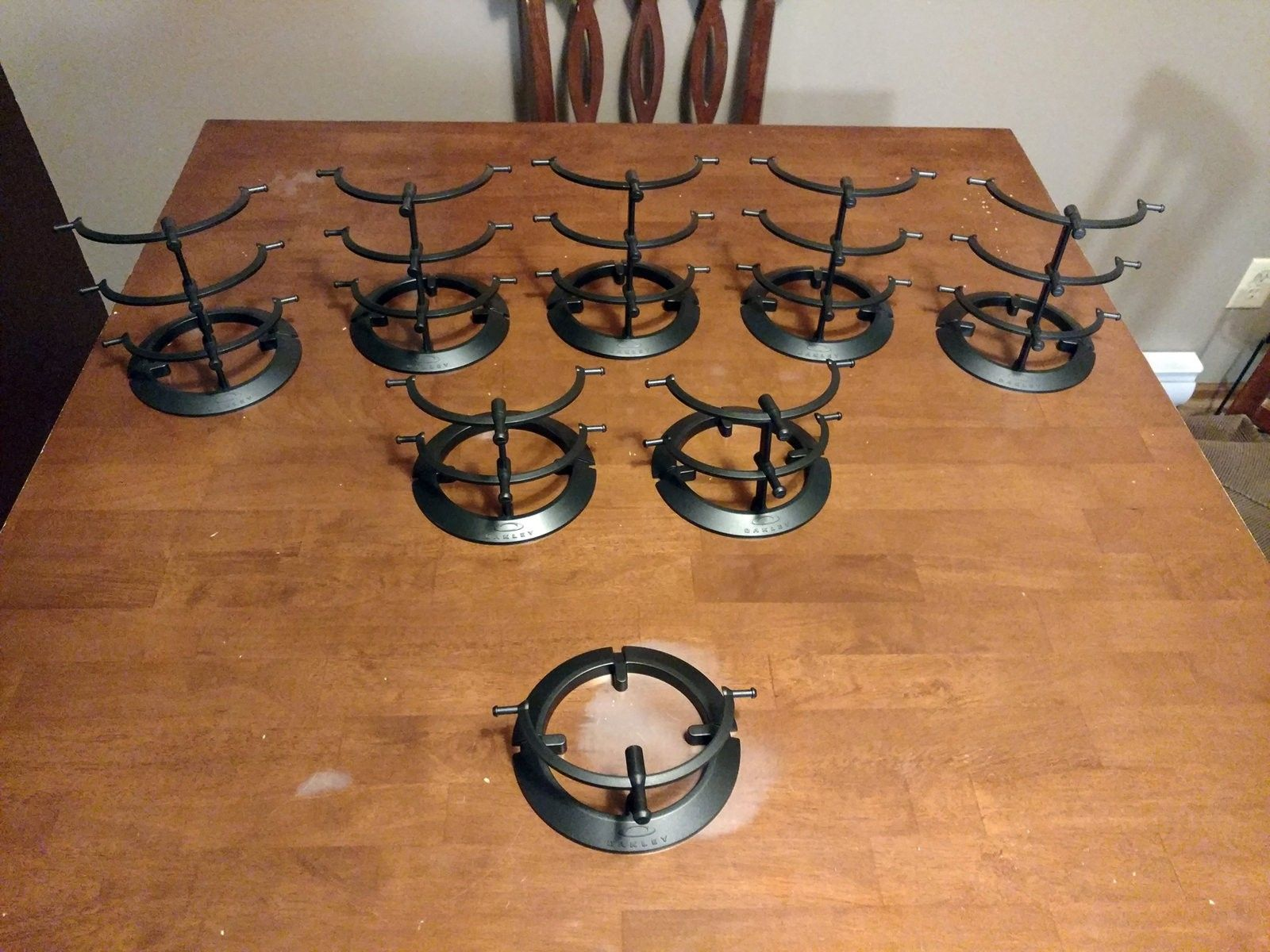Large lot of black plastic stands: 1, 2, & 3-tier - 2016-02-17 22.40.51.jpg