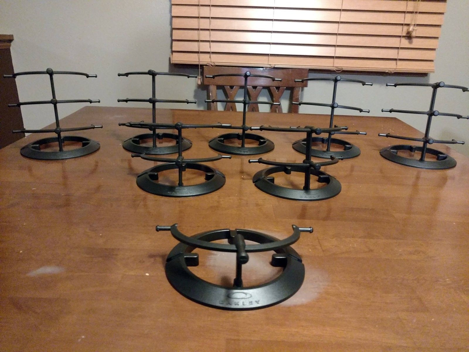 Large lot of black plastic stands: 1, 2, & 3-tier - 2016-02-17 22.41.00.jpg