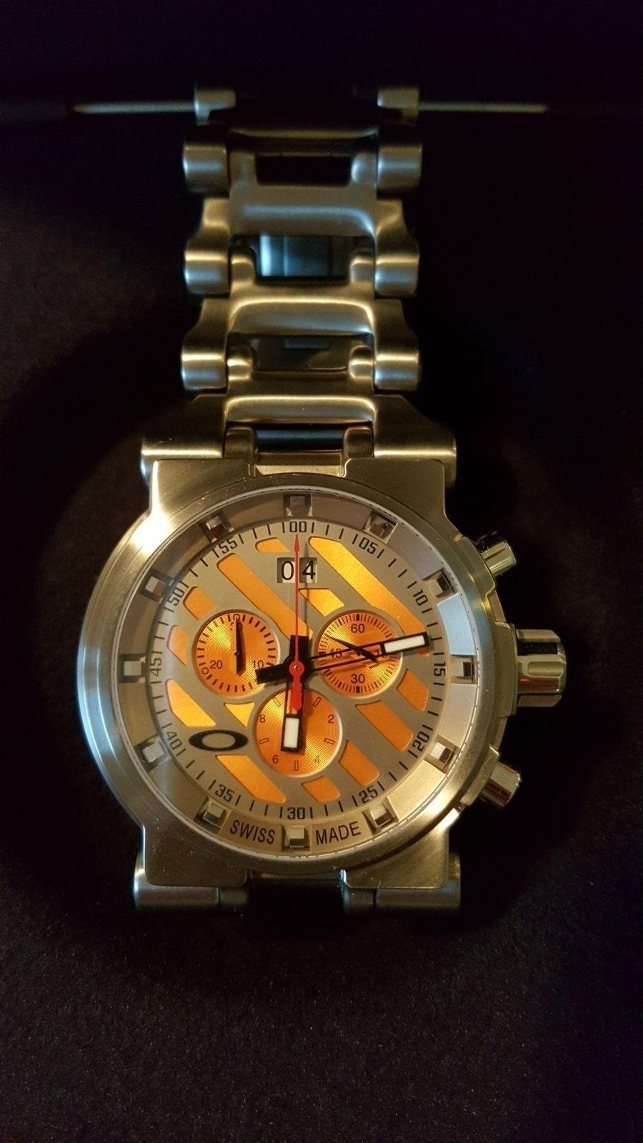 Oakley Men's 10-047 Hollow Point Orange Dial Watch $975 --> $950 - 20160504_181051.jpg