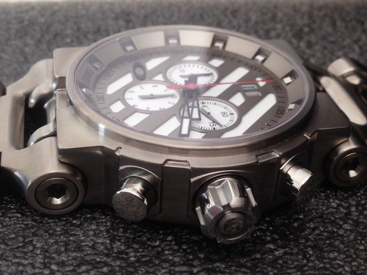 NEW IN BOX Hollow Point Titanium Watch White Dial 10-046 REDUCE PRICE 1,250 or Best Offer - 5.JPG