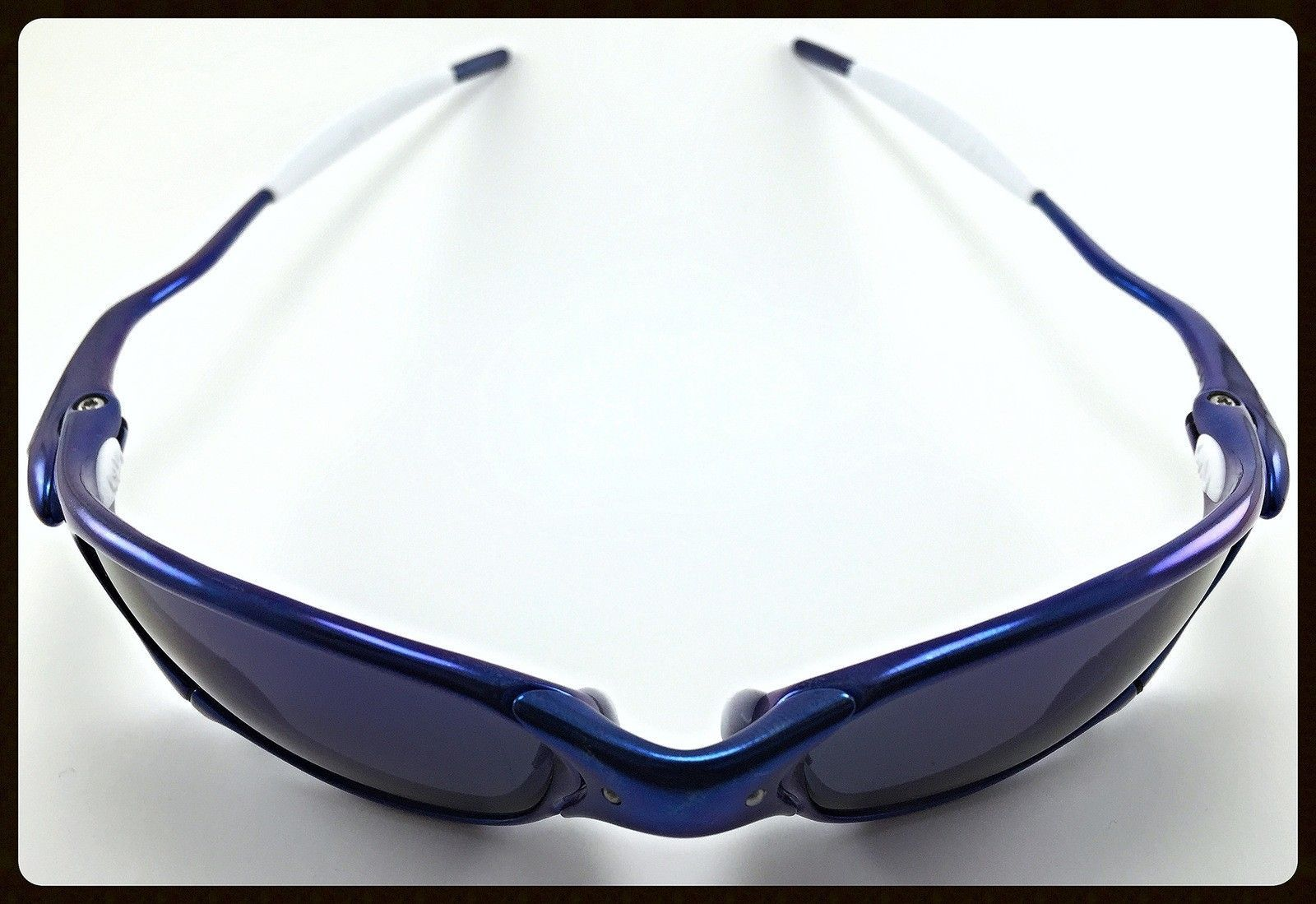 Blue Anodized Polished Juliet - Ichiro Style - 51 Anodized Blue Juliet with OO Blue Ichiro Lenses and White OEM Rubbers-1.jpg