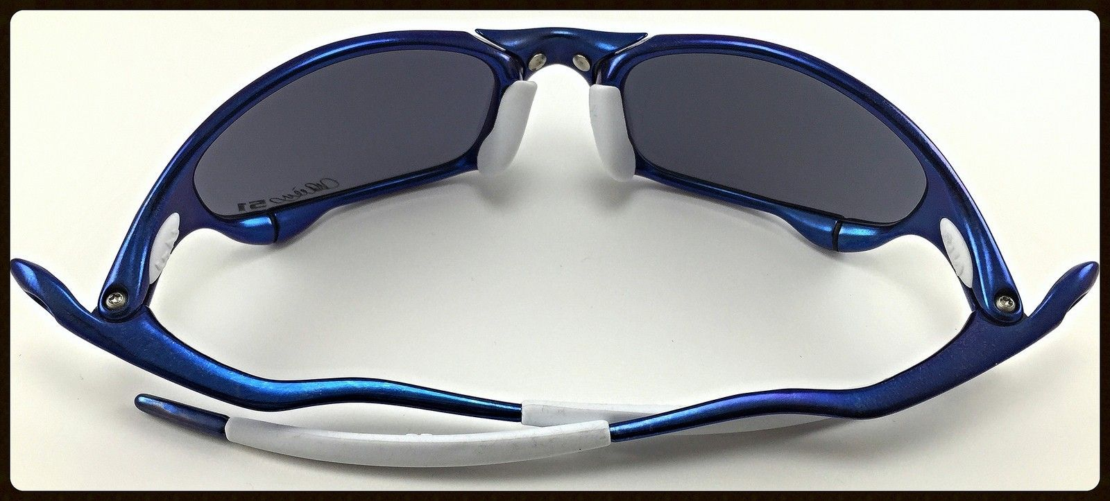 Blue Anodized Polished Juliet - Ichiro Style - 51 Anodized Blue Juliet with OO Blue Ichiro Lenses and White OEM Rubbers-3.jpg