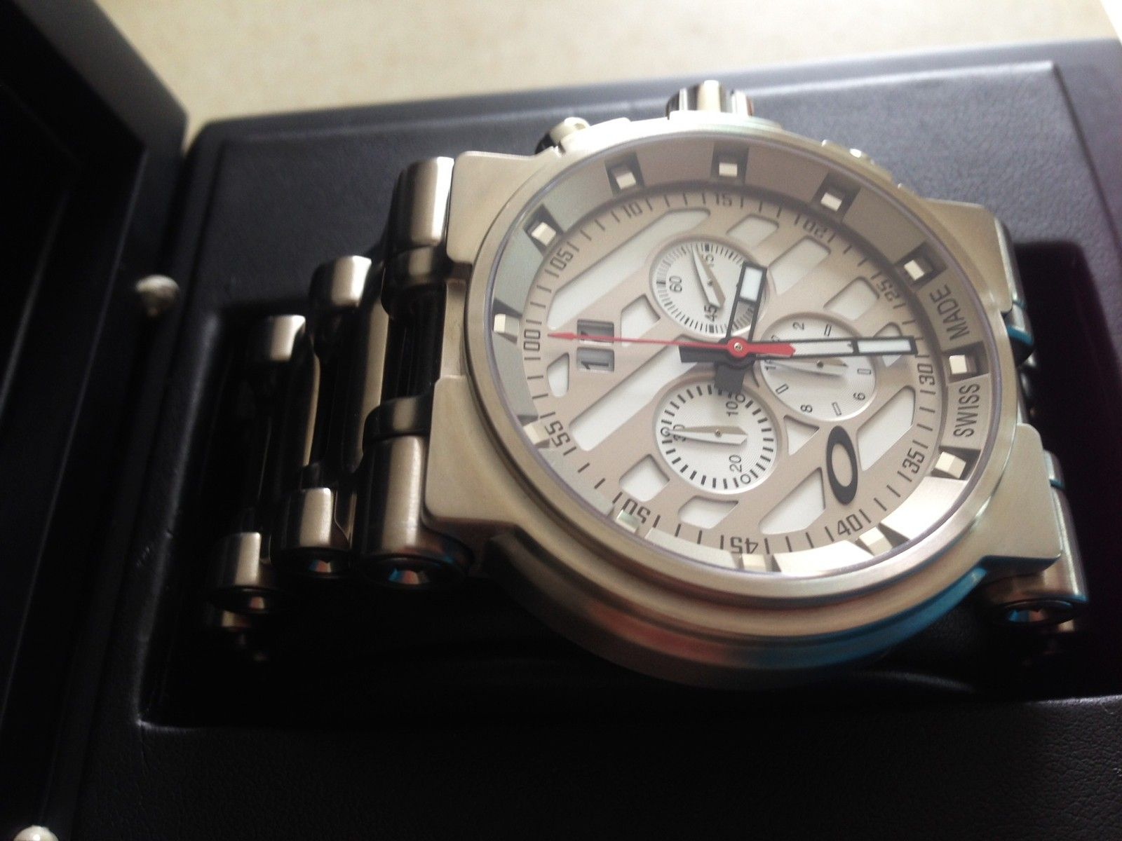 NEW IN BOX Hollow Point Titanium Watch White Dial 10-046 REDUCE PRICE 1,250 or Best Offer - 8.JPG