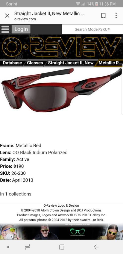 Buying - Buying SJ2 - Metallic Red | Oakley Forum