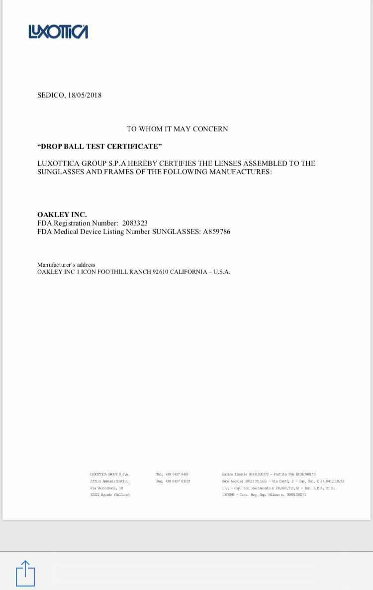 Drop Ball Test Certificate Required by US Customs  | Oakley Forum