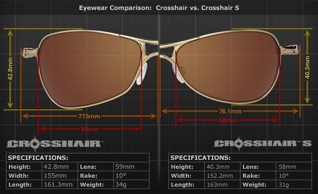 oakley sunglasses size comparison  size comparison, crosshair / crosshair scrosshair vs crosshair