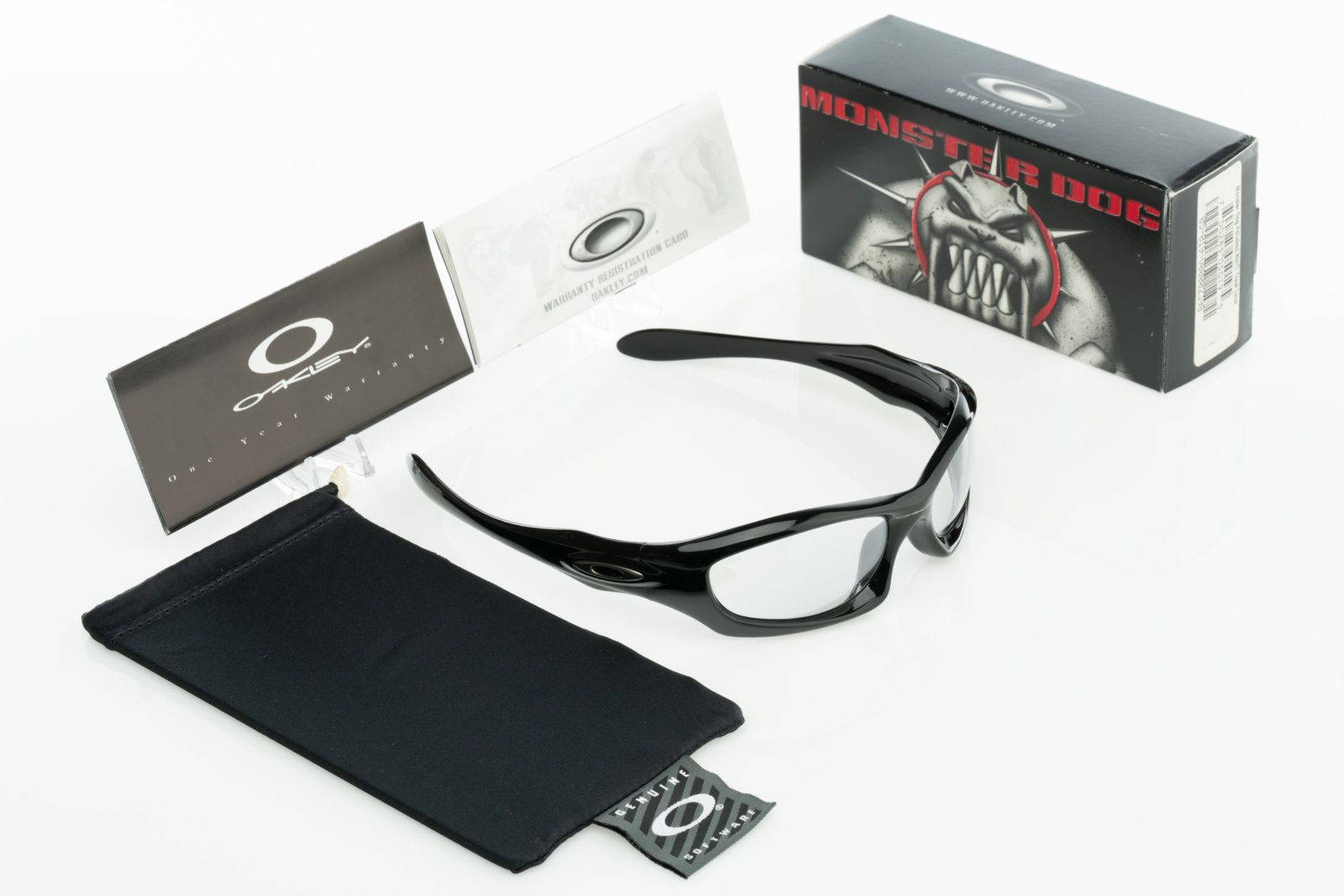24de8641305bf For Sale - NIB Oakley Monster Dog Polished Black with Ti Clear Japan ...