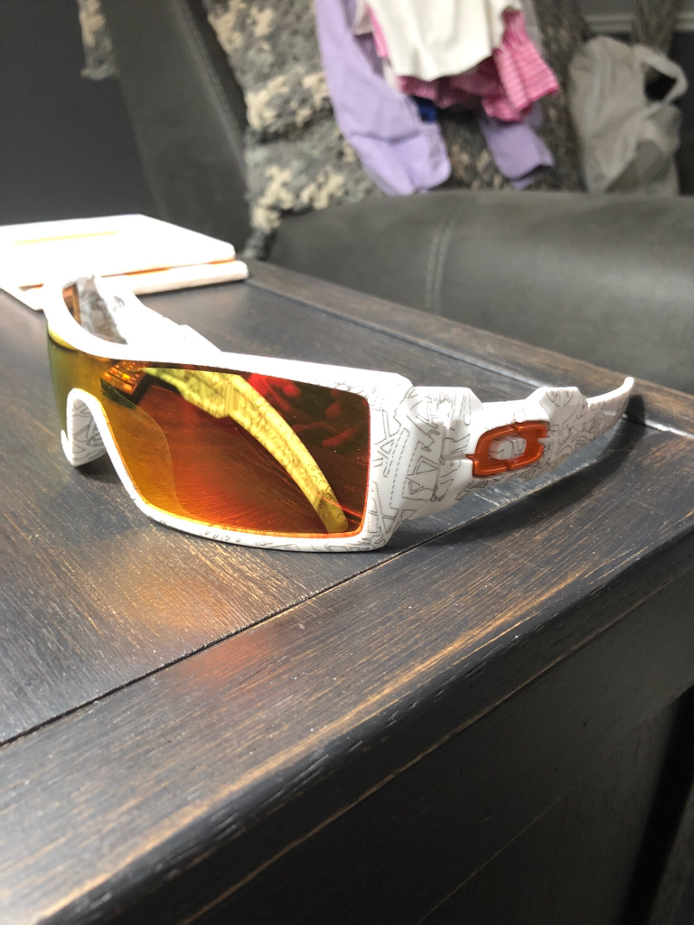 86794e415b796 For Sale - White Ghost text Oil Rig   orange icon and fire iridium ...