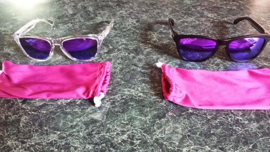 2 New Pairs Of Violet Iridium Frogskins - Polished Clear And Matte Black - Frogskins pair.jpg