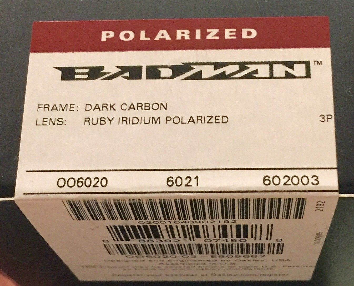 BNIB Badman Dark Carbon / Ruby Iridium Polarized ( Factory Sealed Box ) - image.jpeg