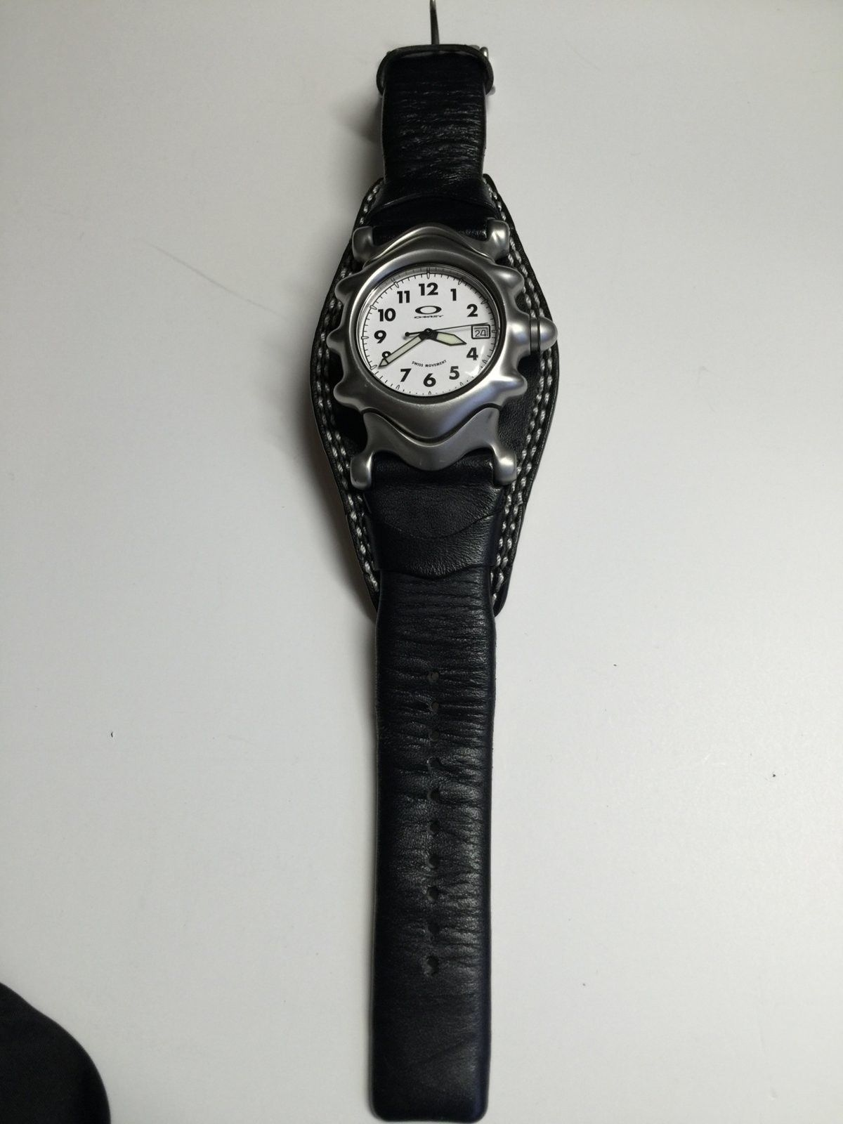 White dial with black leather strap Saddleback watch - IMG_4017.JPG