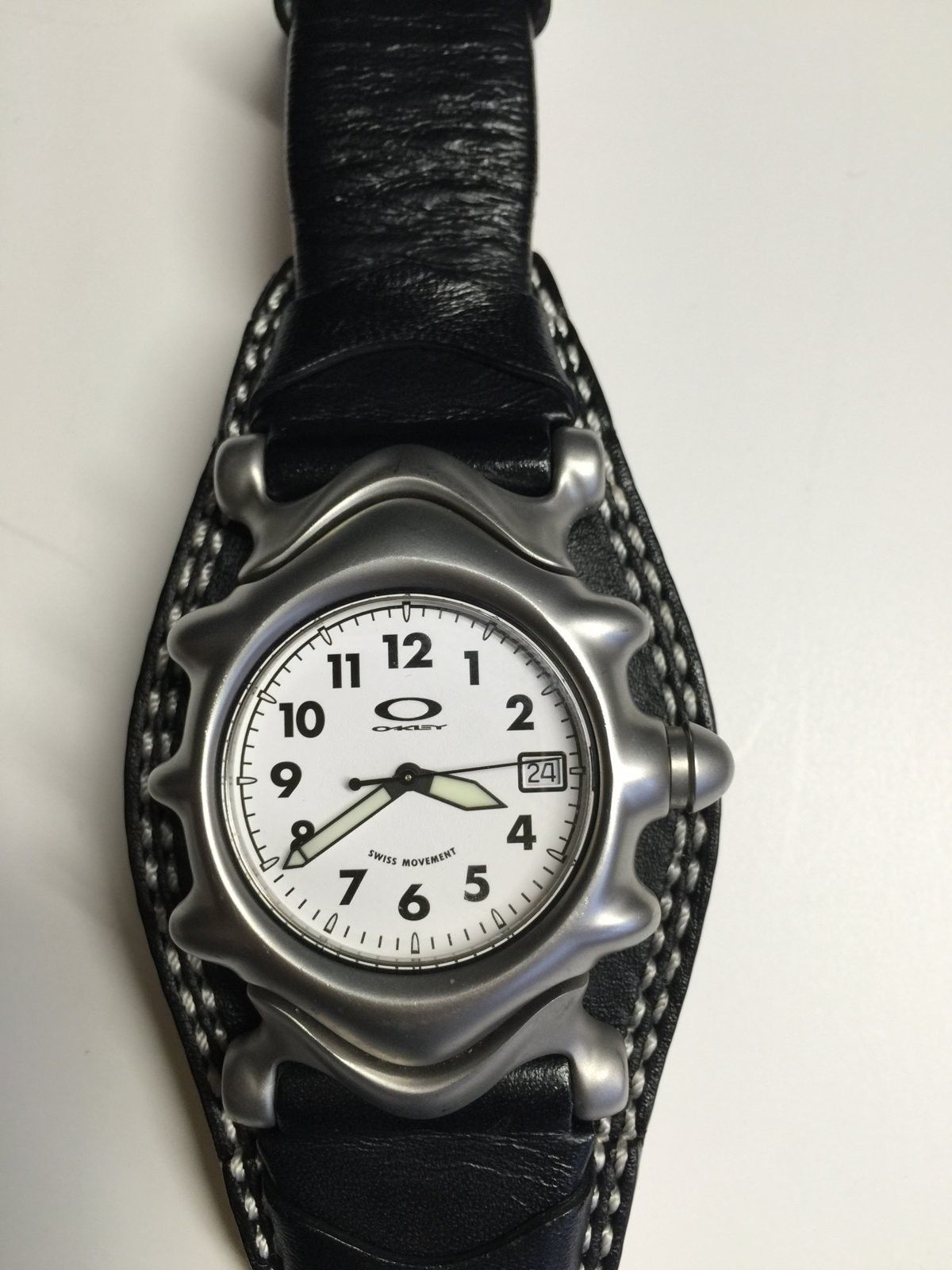 White dial with black leather strap Saddleback watch - IMG_4018.JPG