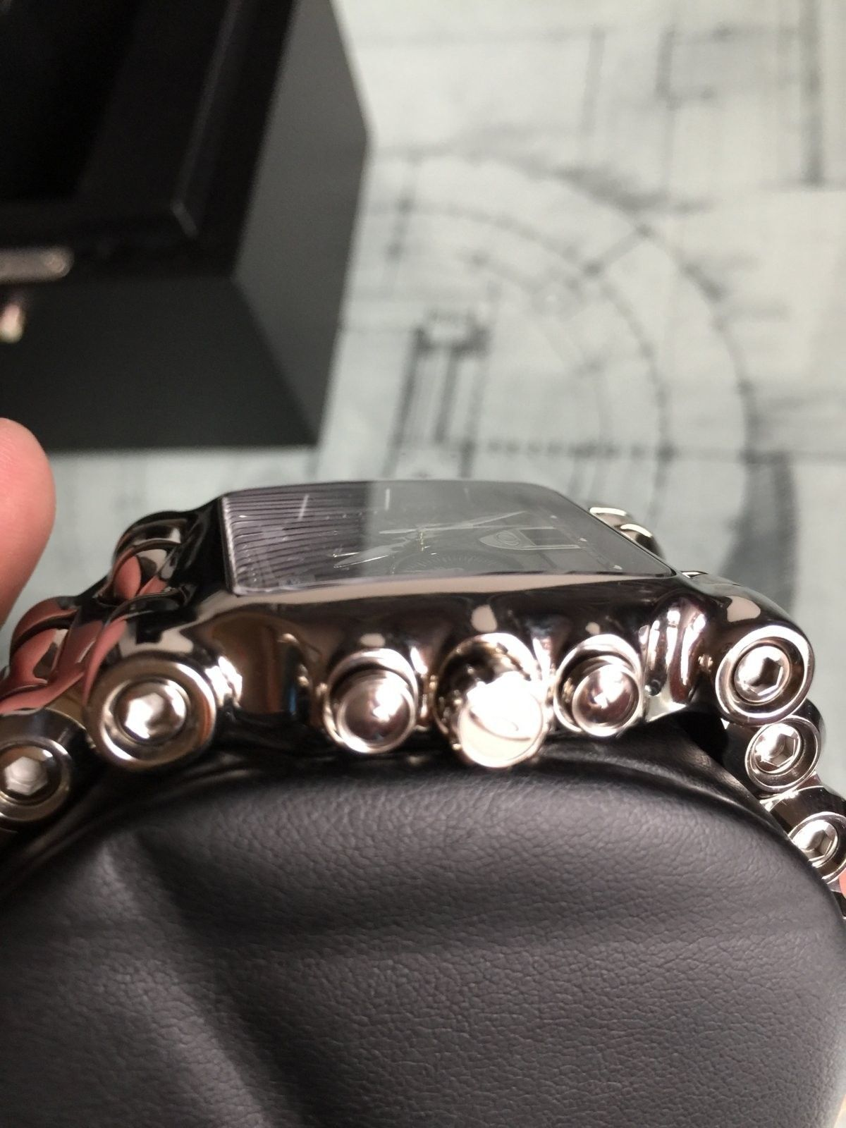 LNIB Polished Black Dial Minute Machine watch - IMG_6078.JPG