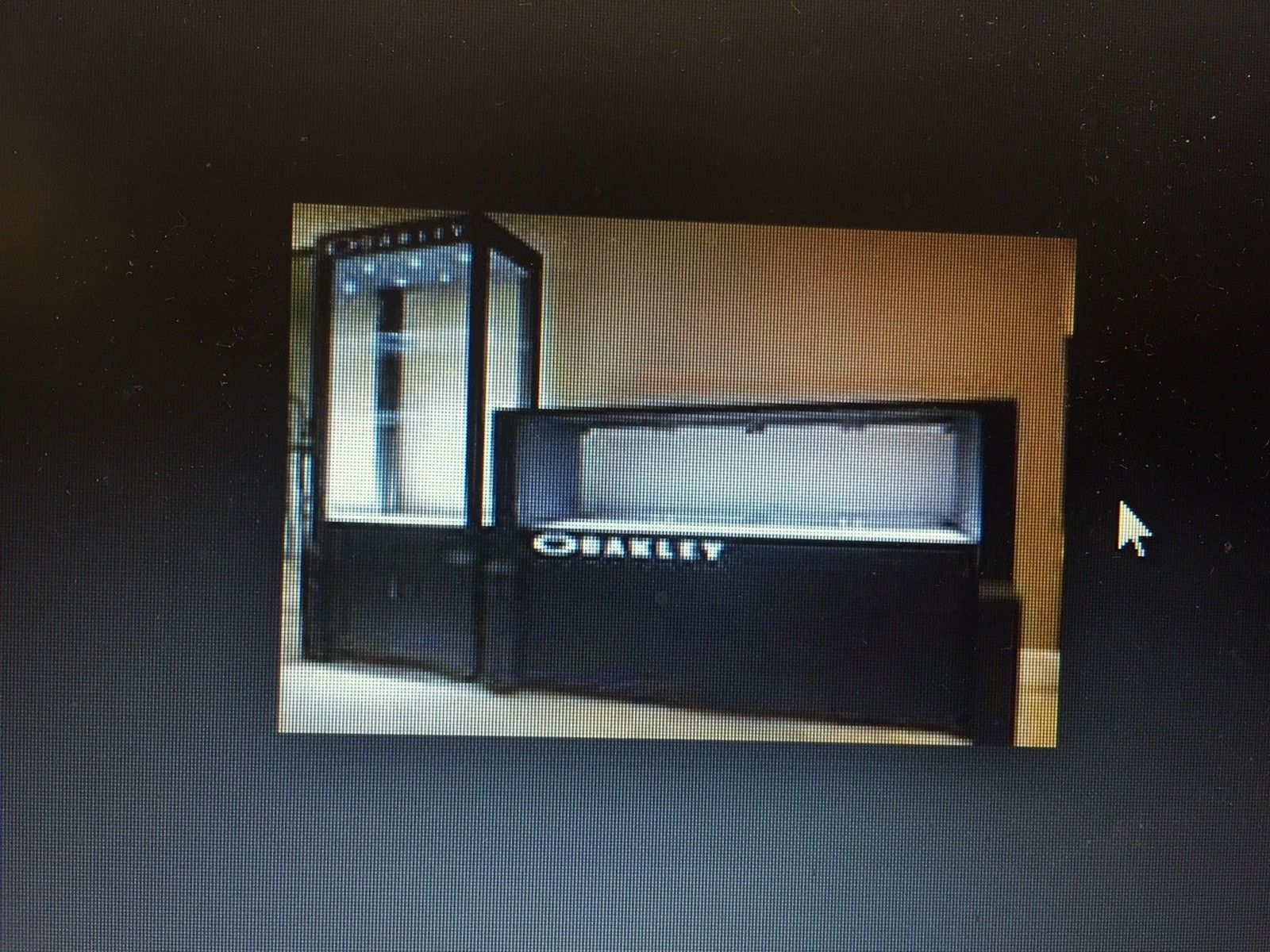 6ft wide black display case, not a tower - O display case.JPG