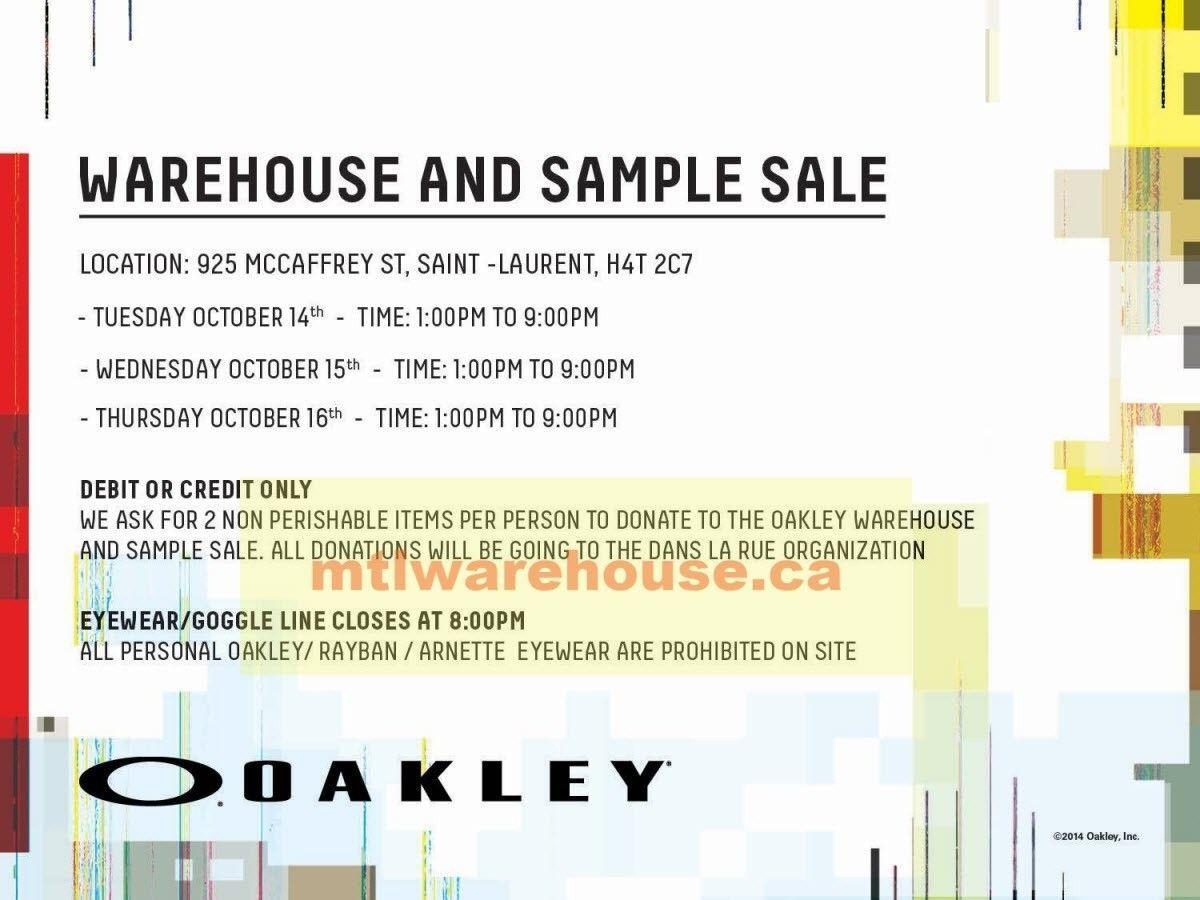 Oakley Canada Warehouse & Sample Sale (Montreal..) - OAKLEY_FALL_SAMPLE_SALE.jpg