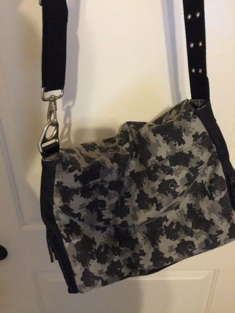 Oakley Messenger Bag Black Denim Material SOLD - Obag.JPG