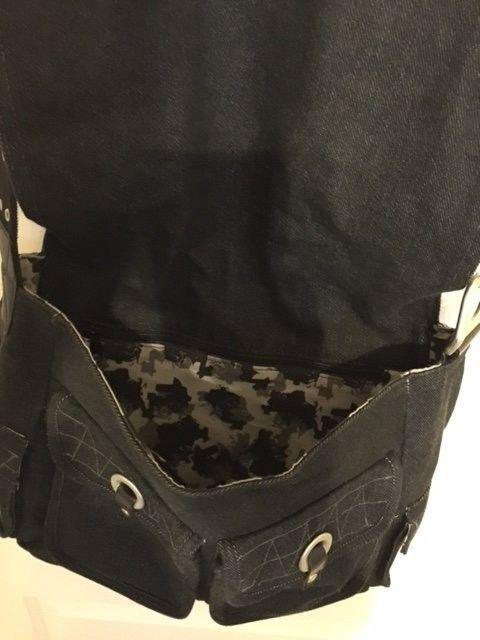 Oakley Messenger Bag Black Denim Material SOLD - Obag1.JPG