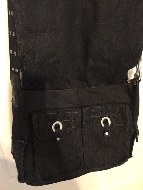 Oakley Messenger Bag Black Denim Material SOLD - Obag2.JPG