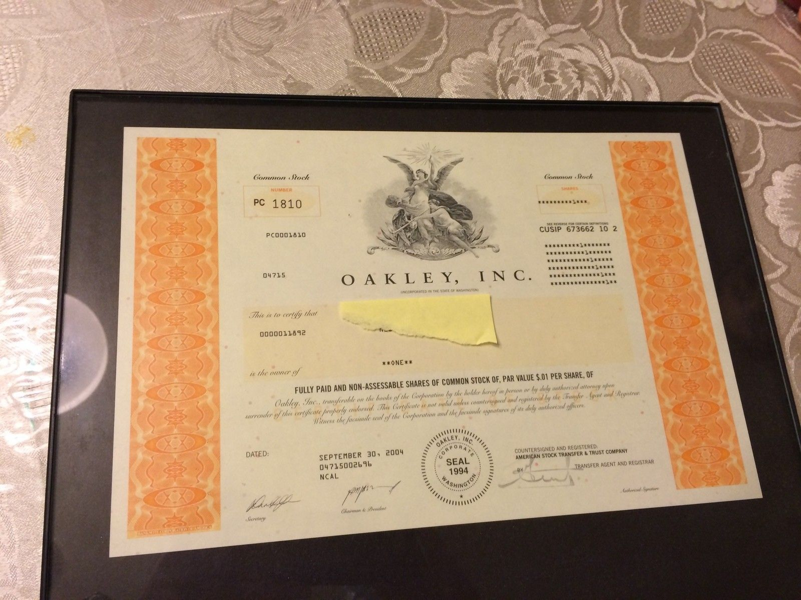 Authentic Oakley Inc Stock Certificate - photo.JPG