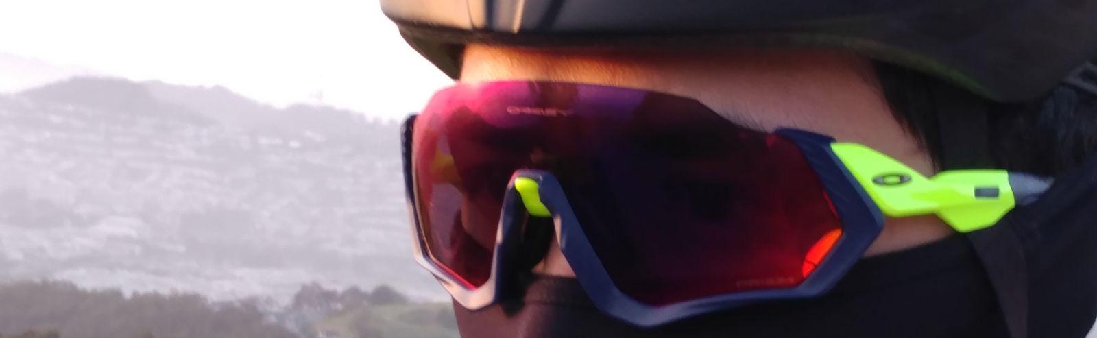Oakley Flight Jacket sunglasses on cycling face