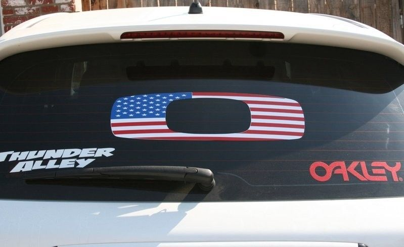 Oakley american flag car decal