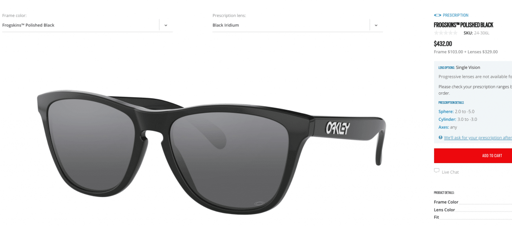 Oakley Prescription Frogskins Sunglasses in Polished Black