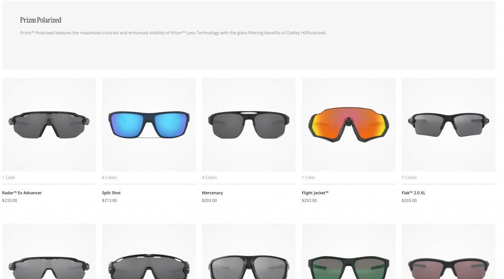 Oakley Sunglasses lineup from Oakley.com