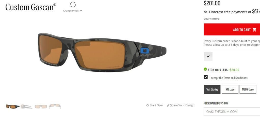 Custom Oakley Gascan Sunglasses from Oakley Custom Program