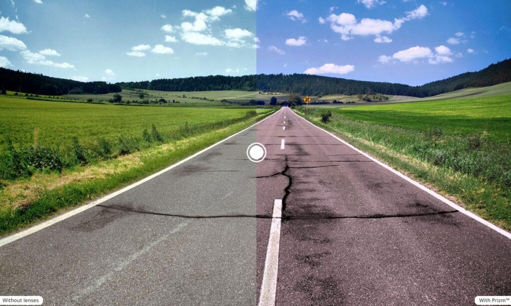 Prizm Road Lens comparison vs. no lens