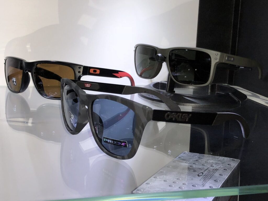 Oakley Frogskin Mix (front) with Oakley Holbrooks (back)