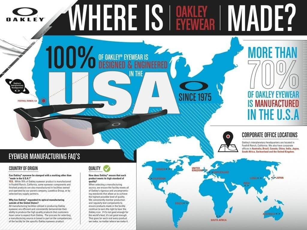 Oakley's Made in the USA Infographic
