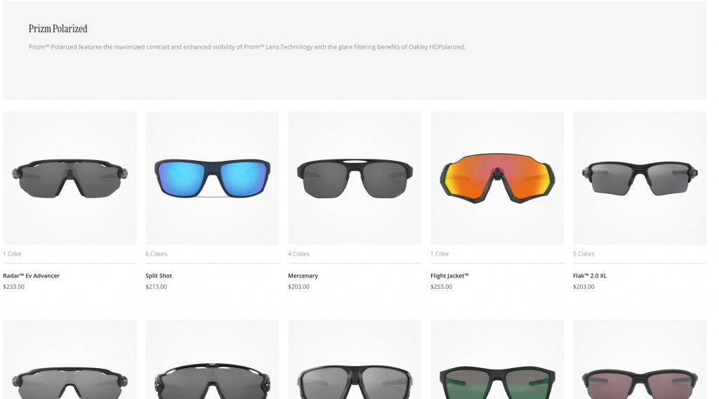 Oakley Sunglasses lineup from Oakley.com